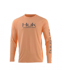 HUK Pursuit Vented LS Performance Fishing Shirt - Light Orange