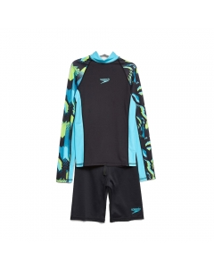 Speedo Pulse Youth Long Sleeve Rashguard & Short Swimming Set (Size: 8)