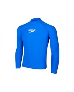 Speedo Men's Delight Long Sleeves Rash Guard - Zest/Blue (Size: M)