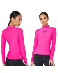 Speedo Women's Delight Long Sleeves Rash Guard - Pink (Size: S)