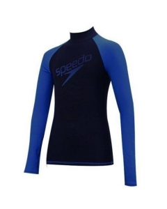 Speedo Delight Youth Long Sleeve Rashguard - Navy Blue