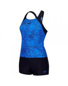 Speedo Women's Boom Allover Tankini - Blue/Black