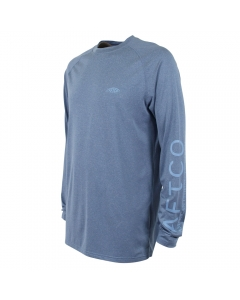 Aftco Youth Samurai 2 SPBH Performance Long Sleeve Shirt - Space Blue Heather (Size: S)