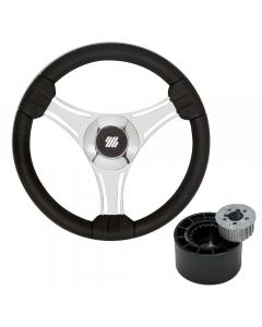 Ultraflex Tavolara Steering Wheel with Hub (Black/Silver)