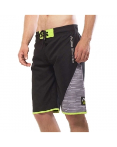 Aqua Marina Division-Printed Men's Board Shorts Black/Gray  (Size: L)