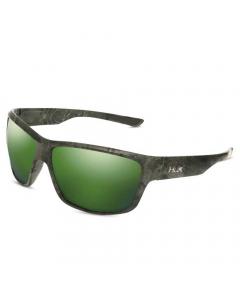 HUK Spar Polarize Sunglasses - Green Mirror Lens/Matte Black