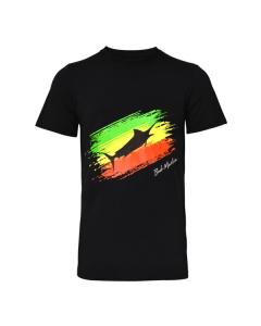 Bob Marlin Rasta Flag T-Shirt – Black