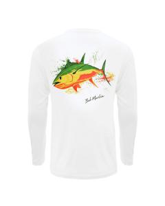 Bob Marlin Rasta Tuna Performance Shirt – White