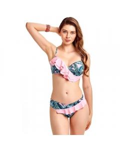 Just Nature Women's Nature on Pink Frill Bikini