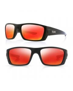 Tonic Youranium Polarized Sunglasses - Matte Black / Red Mirror