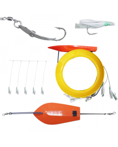 Ready Made - Trolling Hand line Rig with White Green - Squid Skirt for Kingfish