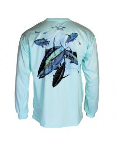 Ahi USA Yellowfin Tuna Fever Sunguard Shirt - Teal (Size: L)