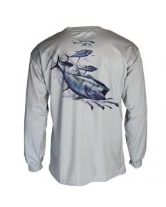 Ahi USA Yellowfin Tuna and Squid Sunguard Shirt - Grey (Size: L)