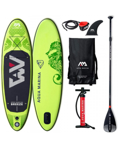 Aqua Marina Breeze Inflatable iSUP Board 2.75m/12cm with Paddle and Safety Leash