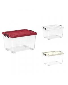 Cosmoplast Clear Plastic Storage Box with Wheels & Lockable Lid