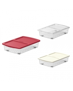 Cosmoplast Clear Plastic Underbed Storage Box with Wheels & Lockable Lid 25 Liters