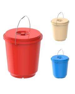 Cosmoplast Round Plastic Bucket with Steel Handles