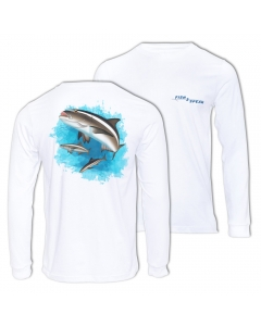 Fish2spear Long Sleeve Performance Shirt - Cobia's in Blue, White