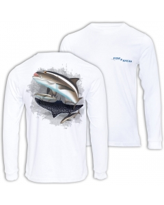Fish2spear Long Sleeve Performance Shirt Cobia's - White