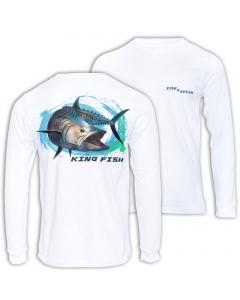 Fish2spear Long Sleeve Performance Shirt - Fierce King Fish, White
