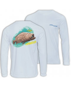 Fish2spear Long Sleeve Performance Shirt - Grouper / Hamour, Off White
