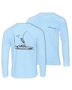 Fish2spear Long Sleeve Performance Shirt - Kayak Fishing Addict, Blue