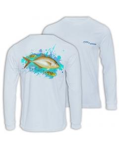 Fish2spear Long Sleeve Performance Shirt - Orange Spotted Trevally - White