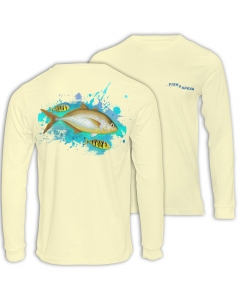 Fish2spear Long Sleeve Performance Shirt - Orange Spotted Trevally - Creme
