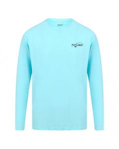 Fly Lord Aqua Marine Long Sleeve Bamboo T-Shirt (Blue)