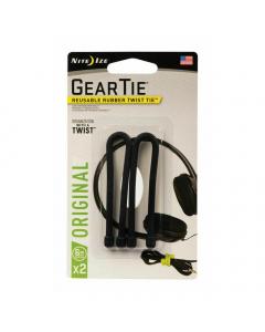 "Nite Ize Gear Tie Reusable Rubber Twist Tie 6"" (Pack of 2) - Black"