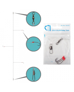 Gold Island Fishing Tackle Rig Hook (Pack of 5)