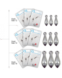 Starter Pack Rig for Bottom Fishing - Hooks with Sinkers Set - Medium Light