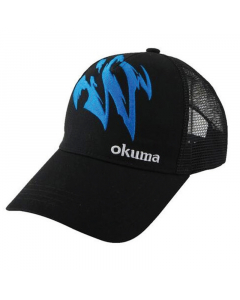 Okuma Motif Cotton Mesh Fishing Cap (Black/Blue)