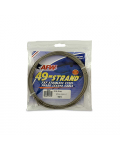 AFW 49 Strand, 7x7 Stainless Steel Shark Leader Cable 800lb | 9.2m - Bright