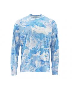 Simms Solarflex Crewneck Print Long Sleeve Shirt - CC-Blue (Size: L)