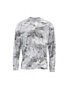 Simms Solarflex Crewneck Print Long Sleeve Shirt - CC-Grey (Size: L)
