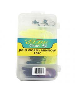 Elbe Starter Kit Jig'n Worm - Minnow 20pcs