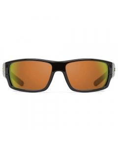 Nines Douglas Polarized Sunglasses (Glossy Black / Amber Brown Lens Orange Mirror)