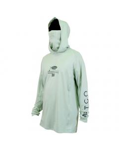 Aftco #M63122 Barracuda Geo Cool Hooded LS Performance Shirt - Moonstone Heather