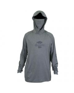Aftco #M63122 Barracuda Geo Cool Hooded LS Performance Shirt - Grey Heather