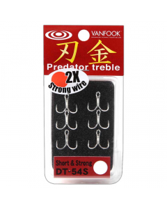 Vanfook DT-54S 2X Short Treble Hooks, Pack of 6