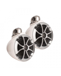 "Wet Sounds ICON Series 8"" White Tower Speaker With Fixed Clamps"